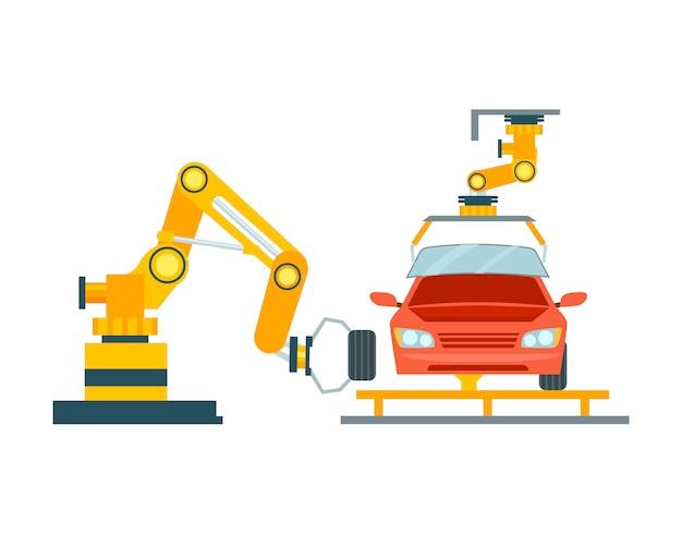 Slimme robotachtige assemblagelijn voor auto's Premium Vector