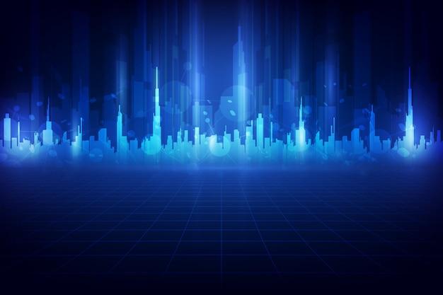 Slimme stad en telecommunicatie netwerk concept achtergrond. abstracte gemengde media Premium Vector