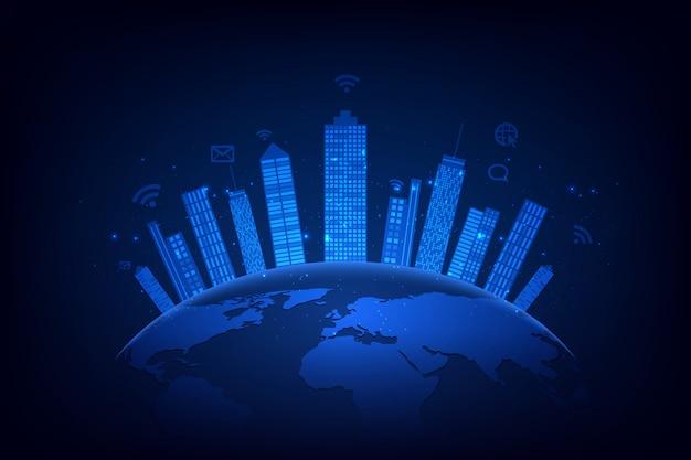 Slimme stad en telecommunicatienetwerkachtergrond Premium Vector