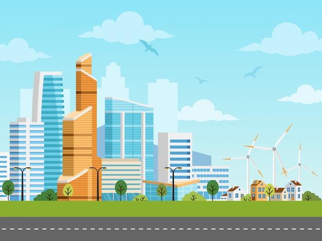 Slimme stad en voorstad vectorpanorama Premium Vector
