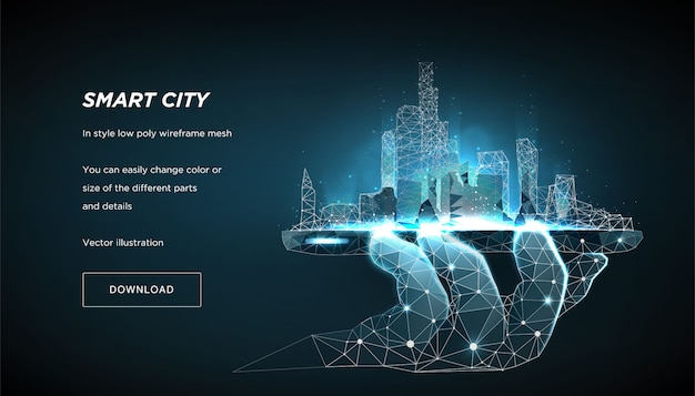Slimme stad lage poly wireframe op blauwe sjabloon voor spandoek. city future abstract of metropool. Premium Vector