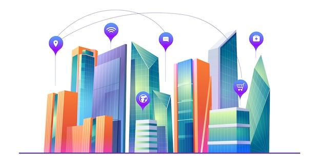 Slimme stad met draadloze communicatietechnologie Gratis Vector