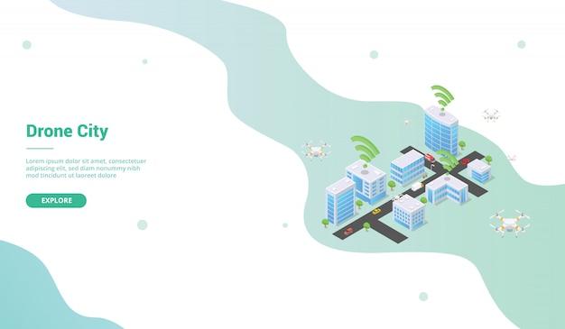Slimme stad met drone voor websitesjabloon of startpagina met isometrische stijl Premium Vector