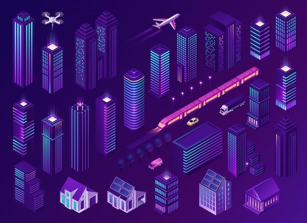 Slimme stad met moderne gebouwen en transport Gratis Vector