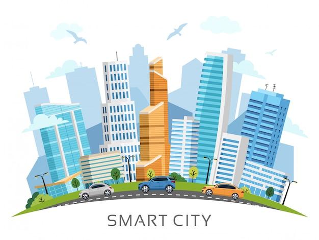Slimme stad met wolkenkrabbersachtergrond Premium Vector