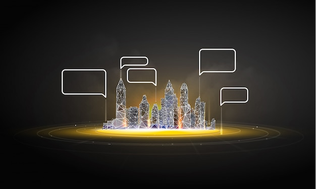 Slimme stad of intelligent gebouw. Premium Vector