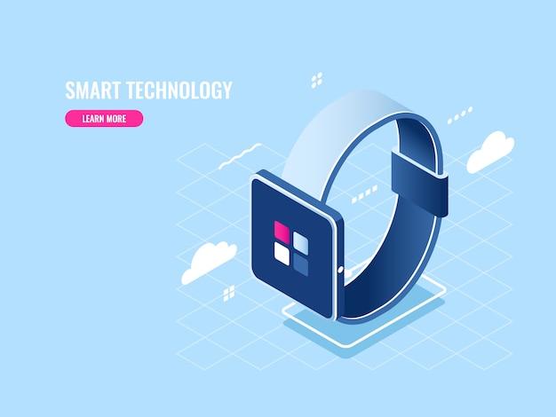 Slimme technologie isometrische pictogram van smartwatch, digitaal apparaat, mobiele applicatie Gratis Vector