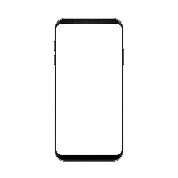 Slimme telefoon concept zwarte kleur met leeg scherm Premium Vector