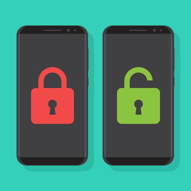 Slimme telefoons vergrendeld en smartphones ontgrendeld Premium Vector
