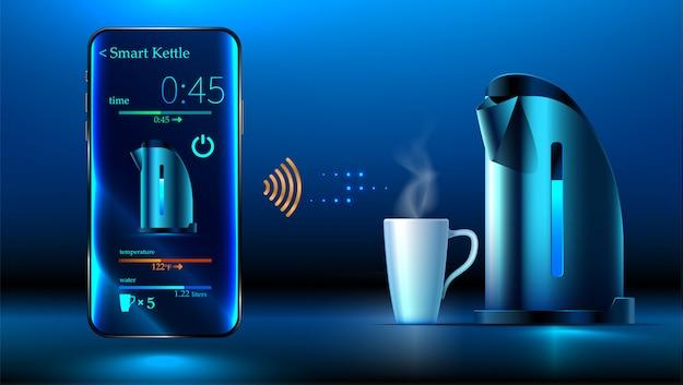 Slimme waterkoker ligt op tafel. smartphone bedient slimme ketel via wifi Premium Vector