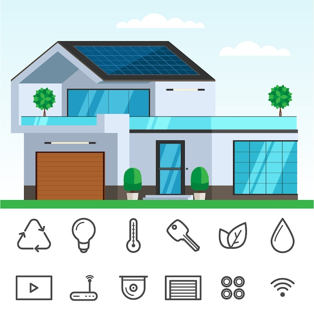 Slimme woning met zonnepaneel Premium Vector