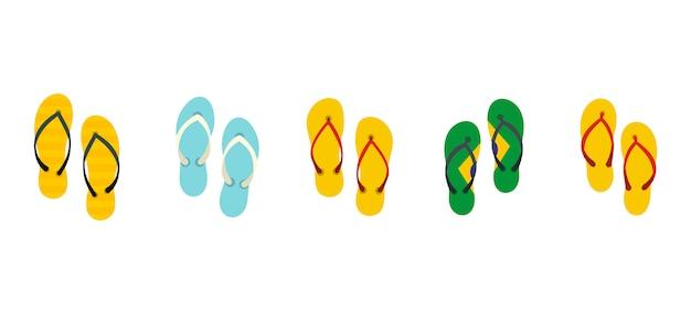 Slippers icon set. vlakke reeks van pantoffels vector geïsoleerde pictogrammeninzameling Premium Vector