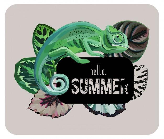 Slogan hallo zomer met kameleon Premium Vector