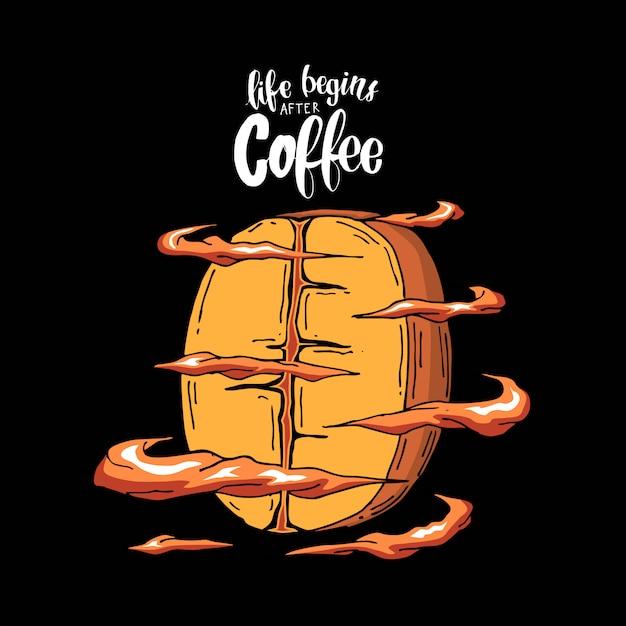Slogan met de koele illustratie van koffiebonen Premium Vector