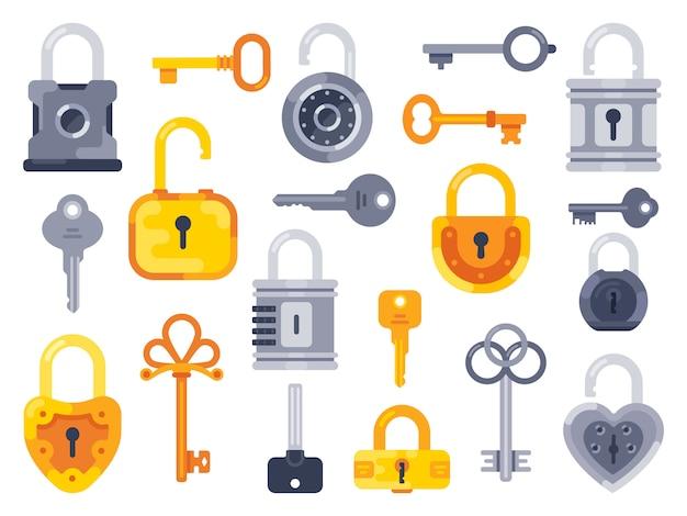 Slot met sleutels. gouden sleutel, toegang hangslot en gesloten veilige hangsloten geïsoleerde platte set Premium Vector