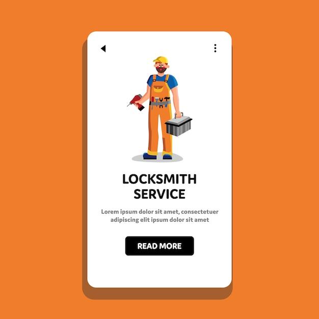 Slotenmaker service workman holding tool Premium Vector