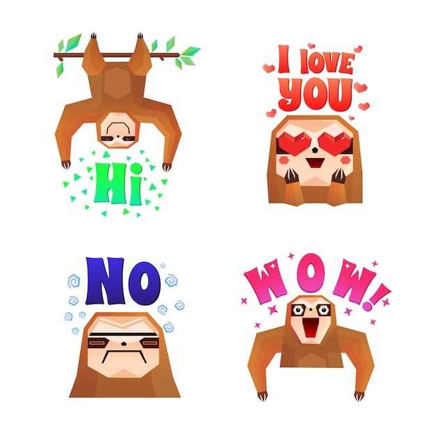 Sloth funny cartoon compositions set Gratis Vector