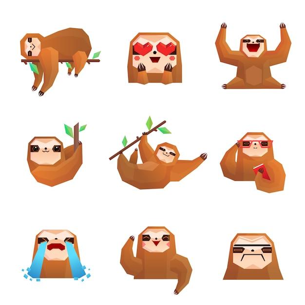 Sloth polygonal set Gratis Vector