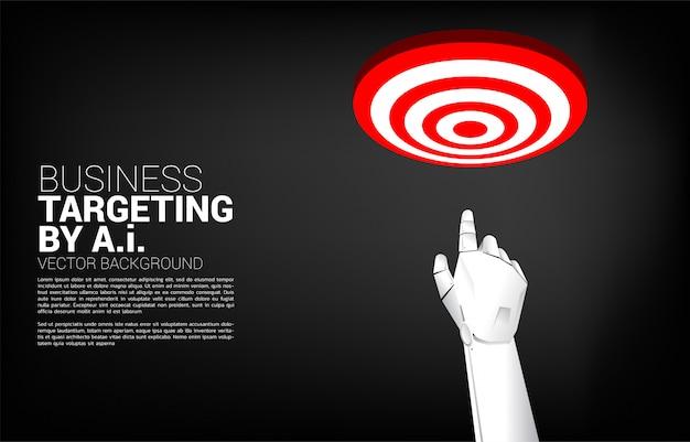 Sluit omhoog het puntvinger van de robothand aan centrum van dartboard. bedrijfsconcept richten en klant. bedrijfsvisieopdracht. Premium Vector