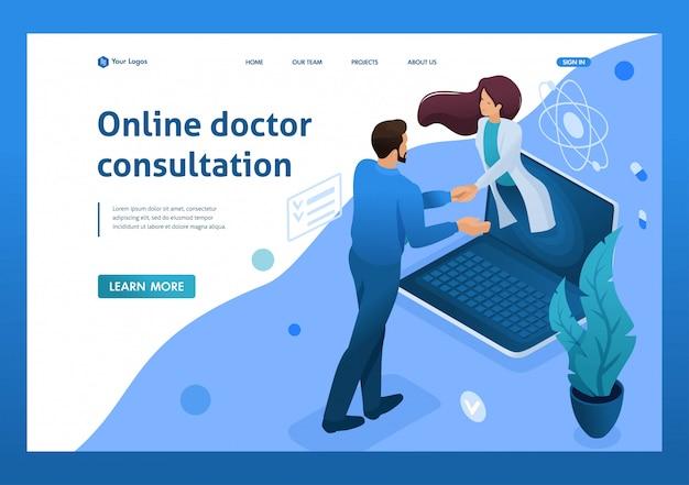 Sluiting van het contract voor online consultatie van de arts. gezondheidszorg concept. 3d isometrisch. landingspagina concepten en webdesign Premium Vector