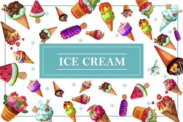 Smakelijke ijssamenstelling met verse ijscoupe en ijsjes met chocoladetaartjes vanille, sinaasappel, watermeloen, kers, framboos, kruisbes en aroma's Gratis Vector