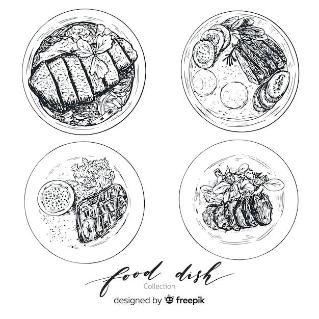 Smakelijke verzameling voedselschotels Gratis Vector