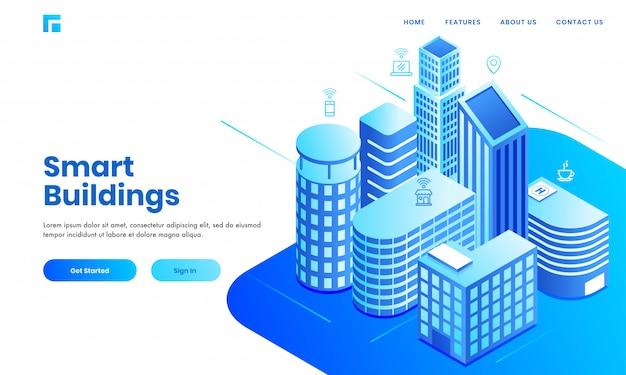 Smart building-conceptgebaseerd bestemmingspagina-ontwerp met isometrische onroerendgoedgebouwen met woningen, ziekenhuizen en commerciële ruimtes. Premium Vector