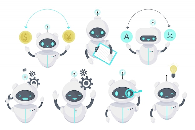 Smart chat bot, technologie illustratie. virtuele robotondersteuning. kunstmatige intelligentie. cartoon vlakke afbeelding. Premium Vector