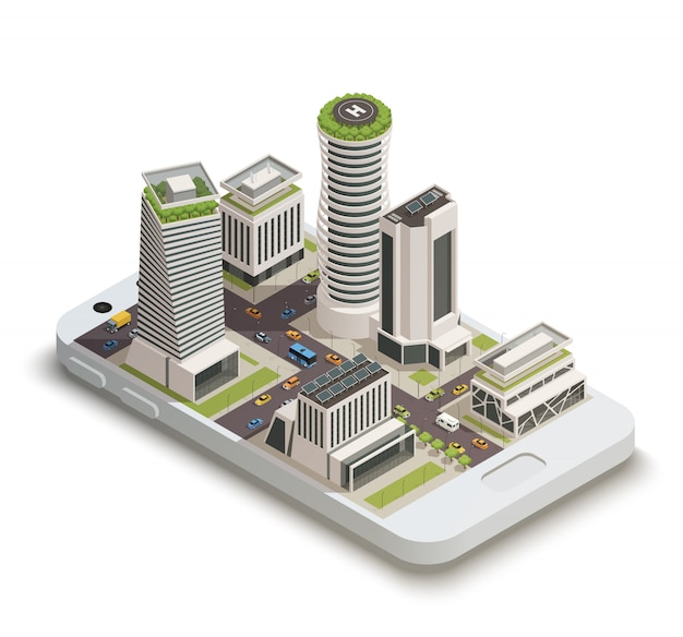 Smart city center isometrisch Gratis Vector