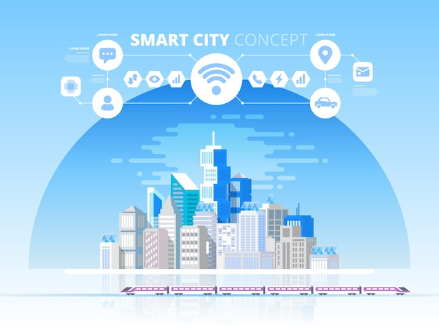 Smart city en draadloos communicatienetwerk. moderne stad met toekomstige technologie. ontwerpconcept met pictogrammen Premium Vector