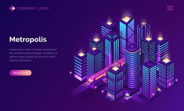 Smart city metropolis isometrische bestemmingspagina. Gratis Vector
