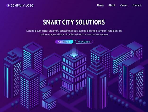 Smart city-oplossingen isometrische bestemmingspagina Gratis Vector