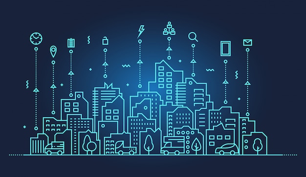 Smart city skyline illustratie Premium Vector