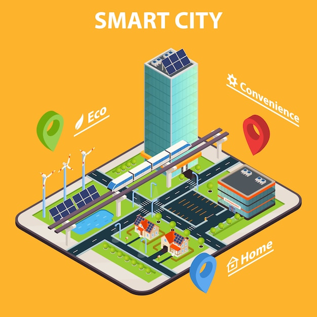 Smart city tablet concept Gratis Vector
