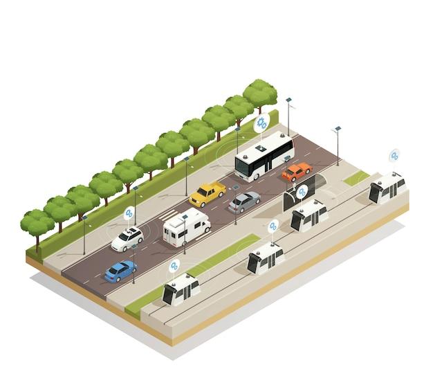 Smart city verkeer isometrisch Gratis Vector