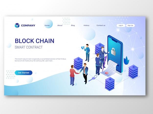 Smart contract blockchain-bestemmingspagina Premium Vector