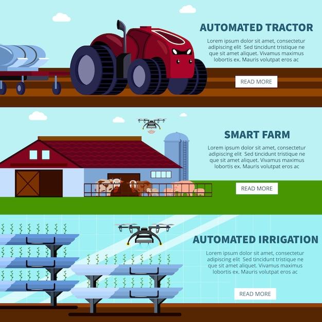 Smart farming orthogonal flat banners Gratis Vector