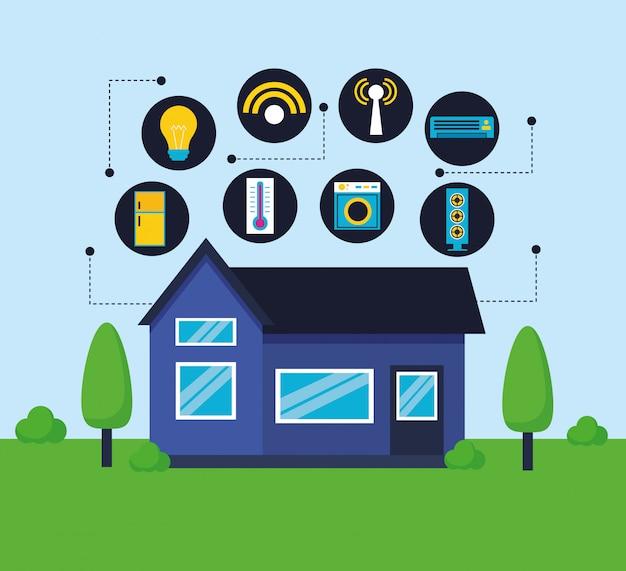 Smart home in vlakke stijl Gratis Vector