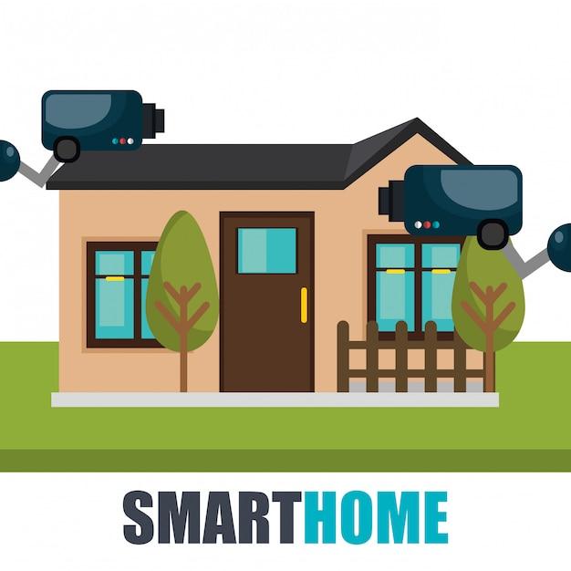 Smart home-technologie met cctv-camera Gratis Vector