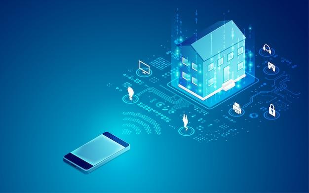 Smart home-technologie Premium Vector