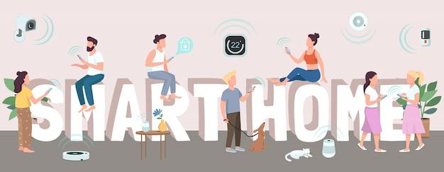 Smart home woord concepten kleur. typografie met kleine stripfiguren. internet of things, technologieën voor huisautomatisering. intelligente huishoudelijke apparaten creatieve illustratie Premium Vector