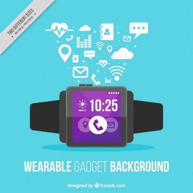 Smart horloge op blauwe achtergrond Gratis Vector