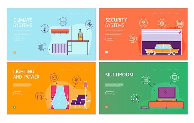 Smart house 4 flat banners concept met internet of thing gecontroleerde verlichting klimaatbeveiligingssystemen Gratis Vector