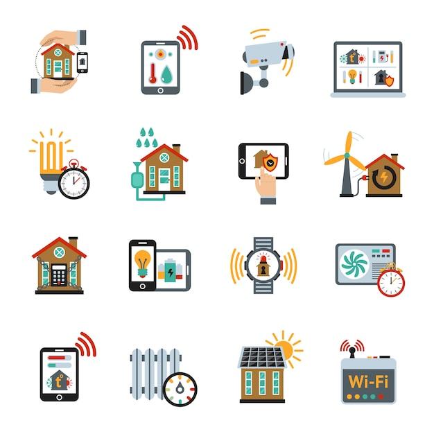 Smart house technologie systeempictogrammen Gratis Vector