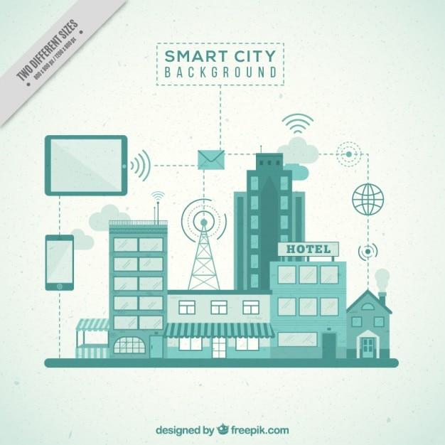 Smart stad achtergrond Gratis Vector