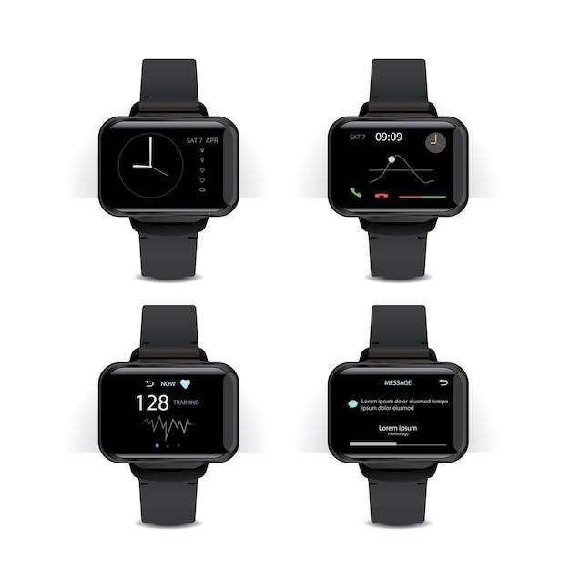 Smart watch met digitale display illustratie set Gratis Vector