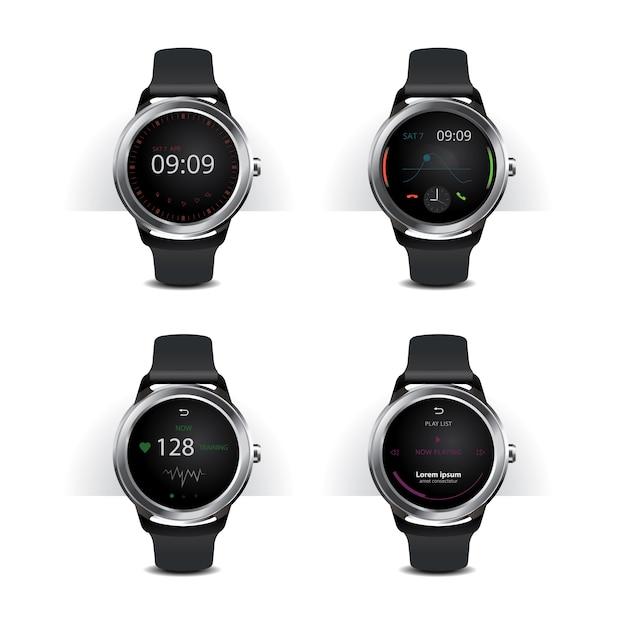 Smart watch met digitale display-set Premium Vector