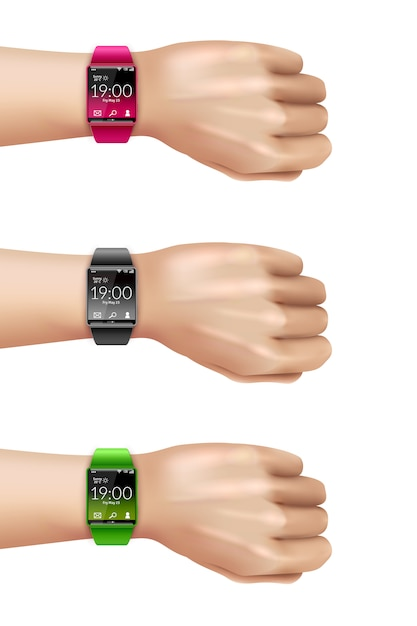 Smart watch on hand decoratieve icon set Gratis Vector