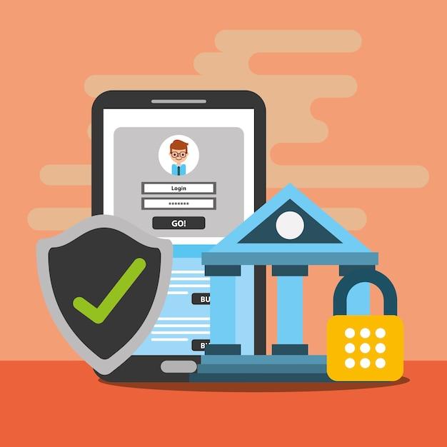 Smartphone bank beveiliging portemonnee digitale blockchain Premium Vector