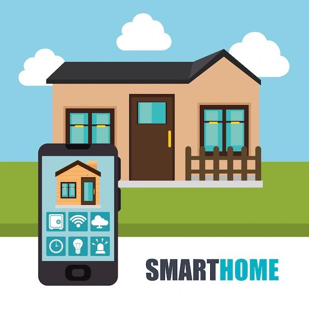 Smartphone bestuurt smart home Gratis Vector